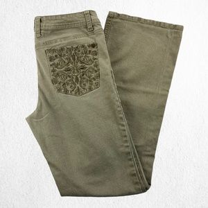 Request Jeans Green Boot Cut Embroidered Sz 11